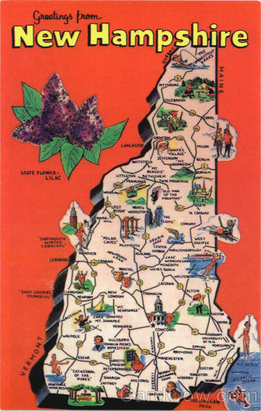 New Hampshire Tourist Map Vintage Postcard