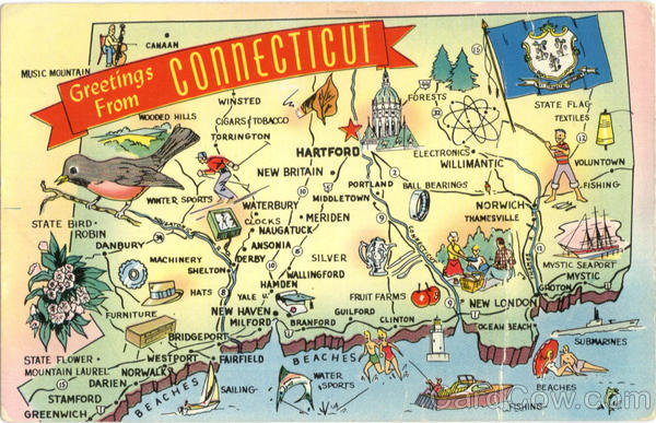 Connecticut Tourist Map Antique Postcard