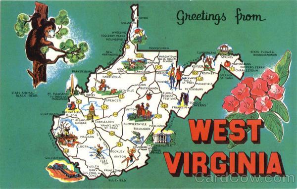 West Virginia Tourist Map Scenic WV