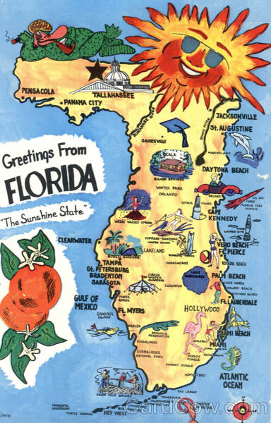 Sunny Florida Tourist Map Scenic Fl