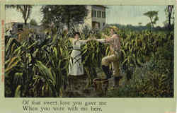 Farmer Couple Dancing in Cornfield