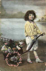 Girl with Flower Wagon Postcard