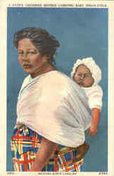 A Native Cherokee Mother Carrying Baby Indian-Style
