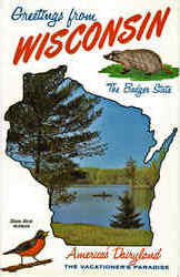 Wisconsin State Outline Postcard
