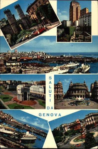 Various Views of City Genoa Italy