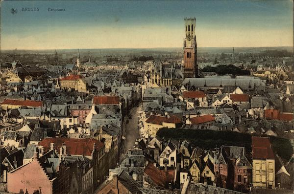 Panoramic View of City Bruges Belgium Benelux Countries