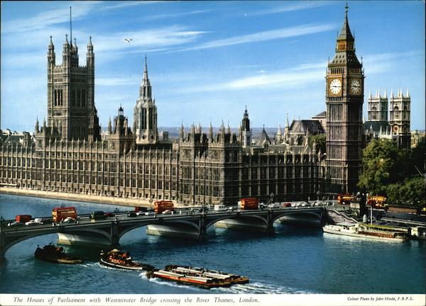 The Houses of Parliament with Westminster Bridge Crossing the River Thames London England