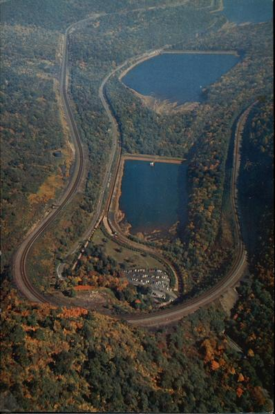 aerial view of world famous horseshoe curve altoona  pa