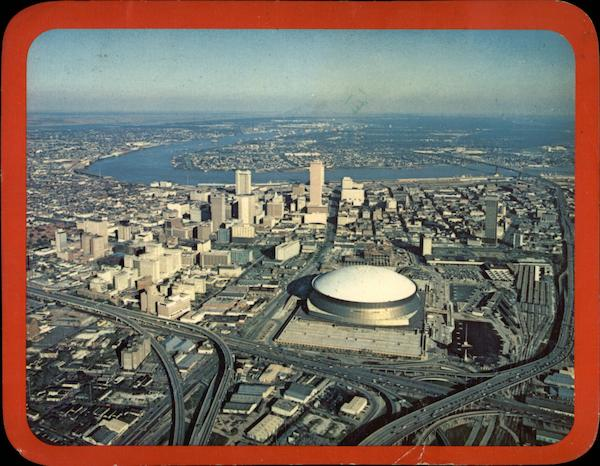 Aerial View of City with Superdome New Orleans Louisiana