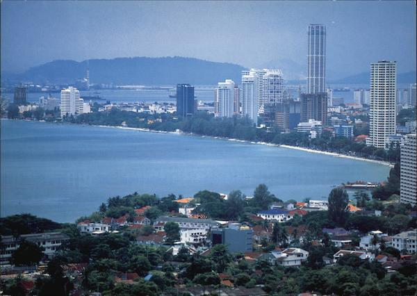 View of Georgetown Over the Bay Penang Malaysia Southeast Asia