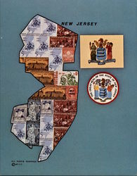 New Jersey Historical Commemorative Stamp Map Large Format Postcard