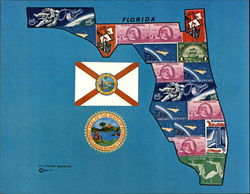 Florida Historical Commemorative Stamp Map