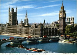 The Houses of Parliament with Westminster Bridge Crossing the River Thames Large Format Postcard