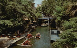 Restaurant and Boats - San Antonio River Large Format Postcard