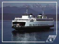 Washington State Ferry on Puget Sound and the Olympic Mountains Large Format Postcard