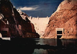 Downtown Face of Boulder Dam as Seen From the Street Level