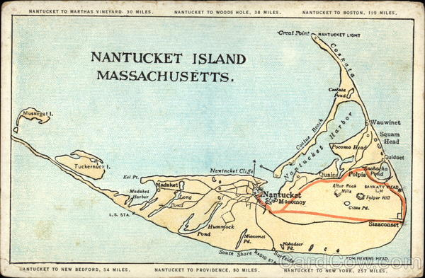 Map of Nantucket  Hotels and Attractions on a Nantucket