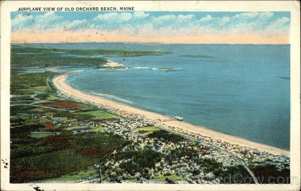 Aerial View of Beach and Town Old Orchard Beach Maine