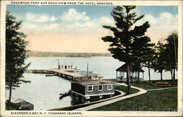 Edgewood Park and Dock from the Hotel Grounds Alexandria Bay New York