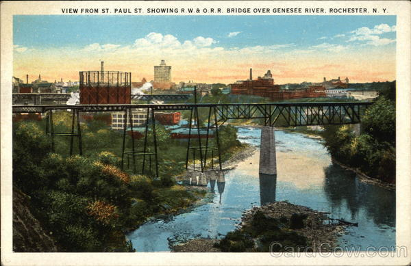 View from St. Paul showing R.W.&O.R.R. Bridge over Genesee River Rochester New York
