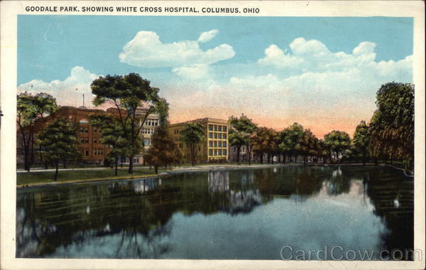 Goodale Park shwoing White Cross Hospital Columbus Ohio