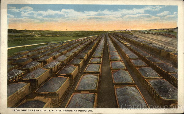 Iron Ore Cars in D. M. & N.R.R. Yards Proctor Minnesota