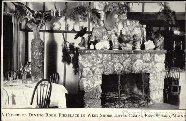 A Cheerful Dining Room Fireplace in West Shore Hotel Camps East Sebago Maine