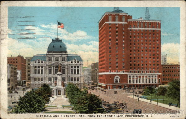 City Hall and Biltmore Hotel from Exchange Place Providence Rhode Island