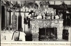 A Cheerful Dining Room Fireplace in West Shore Hotel Camps