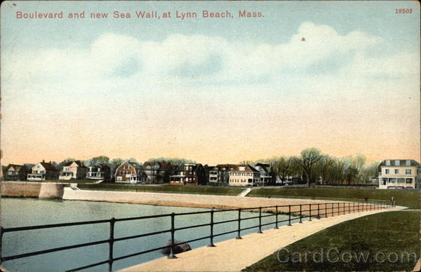 Boulevard and new Sea Wall Lynn Beach Massachusetts