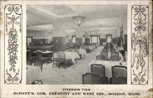 Interior View DuPonts, Cor. Tremont and West Sts Boston Massachusetts
