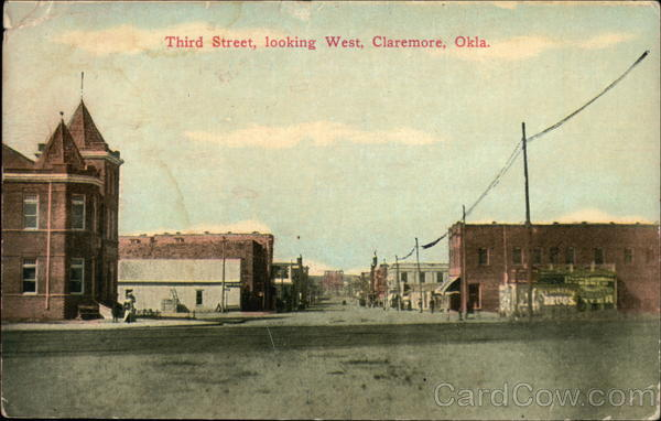 Third Street, looking West Claremore Oklahoma