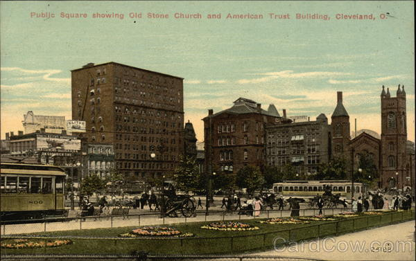Public Square Showing Old Stone Church and American Trust Building Cleveland Ohio
