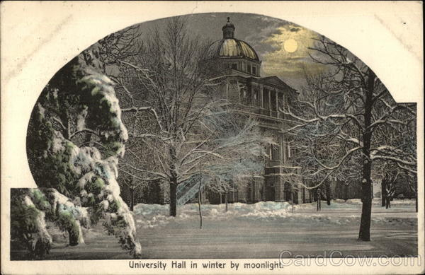 University Hall in Winter by Moonlight Ann Arbor Michigan