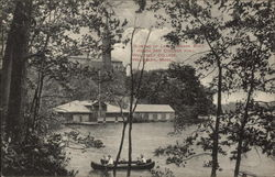 Glimpse of Lake Waban Boat House and College Hall, Wellesley College
