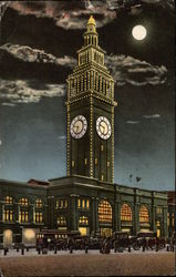 Clock Tower Lit Up at Night