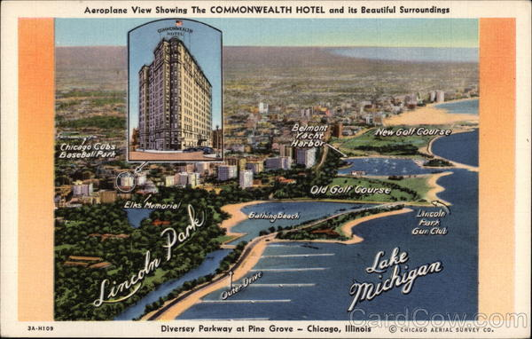 Aeroplane View Showing The Commonweath Hotel and its Beautiful Surroundings Chicago Illinois