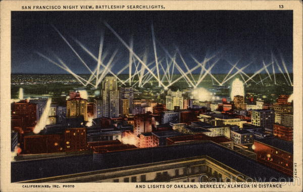 Night View with Battleship Searchlights San Francisco California