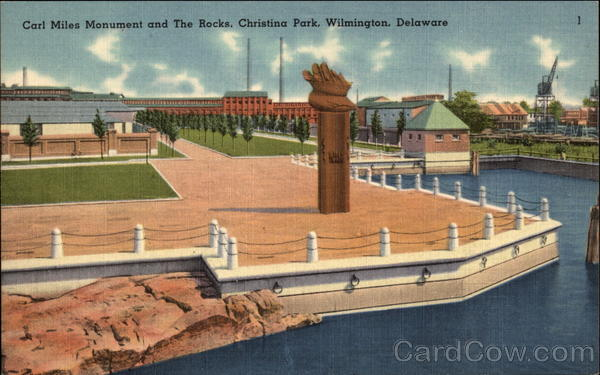 Carl Miles Monument and The Rocks, Christina Park Wilmington Delaware