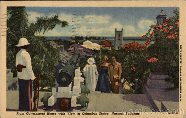 From Government House with View of Columbus Statue Nassau Bahamas