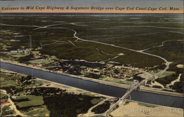 Entrance to Mid Cape Highway & Sagamore Bridge over Cape Code Canal Massachusetts