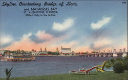 Skyline Overlooking Bridge of Lions and Matanzas Bay - Oldest City in the USA