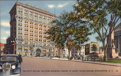 Security Mutual Building showing Library at Court House Square Postcard