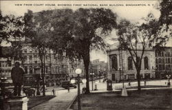 View from Court House showing First National Bank Building Postcard