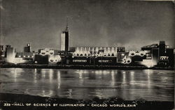 Hall of Science by Illumination - Chicago 1933 World's Fair Postcard
