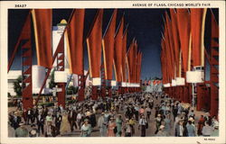 Avenue of Flags, Chicago World's Fair Postcard