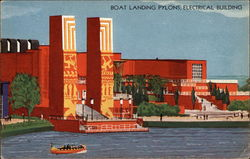 Boat Landing, Pylons, Electrical Building Postcard