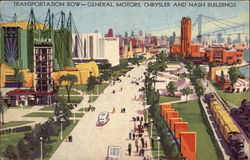 Transportation Row - General Motors, Chrysler and Nash Buildings Postcard