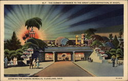 The Subway Entrance to the Great Lakes Exposition at night