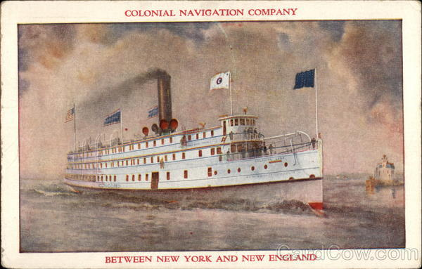 Colonial Navigation Company Between New York and New England Providence Rhode Island